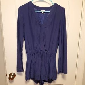 PARKER Long Sleeve Shorts Romper Navy Blue EUC